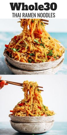 Best Asian Garlic Paleo Noodles – Paleo Gluten Free Eats Best asian garlic noodles you will ever have! These spicy paleo noodles can be served hot or cold- my favorite way is chilled. The flavor is unreal and made me eat two bowls. Paleo Menu, Paleo Dinner, Dinner Meal, Paleo Food, Diet Menu, Vegetarian Paleo, Veggie Food, Recipes Dinner, Whole 30 Diet