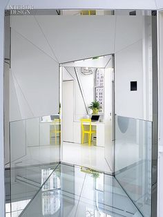 Creative. Glass bridge leads to guest room.  Designers: Ghislaine Viñas and David Hotson.
