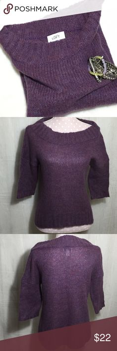 """Ann Taylor LOFT Sweater Size S Loose neck and 1/2 sleeves. 25% acrylic, 22% nylon, 21% wool, 17% mohair and15% rayon.  From armpit to armpit 18"""" from shoulder to hem 22"""".   Bin S2 LOFT Sweaters"""