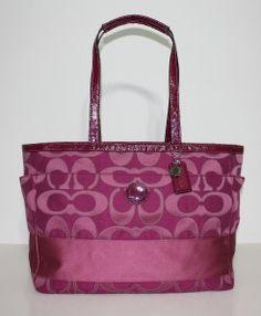 Pink Coach Diaper Bag | Authentic Coach Outline Signature Stripe Pink Baby Diaper Bag XL Tote ...