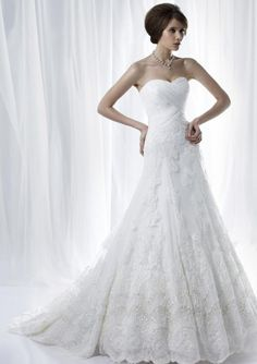 A-Line Strapless Neck Sweetheart Neck Chapel Trailing Satin And Tulle Wedding Dresses