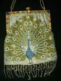 Peacock beaded purse...Art Deco.