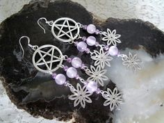 Pentacle Dangle Earrings, wiccan jewelry pagan jewelry wicca jewelry goddess witch witchcraft pentagram metaphysical magic handfasting by Sheekydoodle on Etsy
