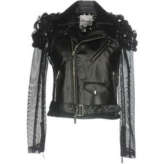 Noir Kei Ninomiya Jacket (€1.075) ❤ liked on Polyvore featuring outerwear, jackets, black, biker jackets, zip jacket, zipper jacket, double breasted jacket and collar jacket