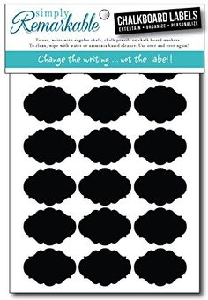 """Simply Remarkable Reusable Chalk Labels - 54 Fancy Oval Shape 1.75"""" x 1.25"""" Adhesive Chalkboard Stickers, Light Material with Removable Adhesive and Smooth Writing Surface. Can be Wiped Clean and Reused, For Organizing, Decorating, Crafts, Personalized Hostess Gifts, Wedding and Party Favors"""