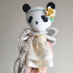 Panda Fairy Handmade Doll by liberty lavender dolls
