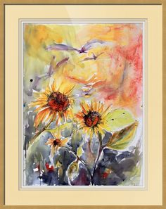 Expressive Sunflowers Watercolor and Ink Painting by Ginett by Ginette Callaway