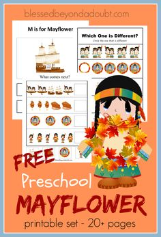 Hurry and grab this FUN Mayflower Preschool Pack with over 20 pages of FUN!