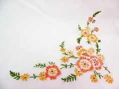 Hand embroidered tablecloth table cloth embroidery orange /