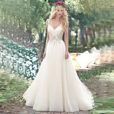 Country V-Neck Tulle Beads Crystal Long Backless Beach Wedding Dresses