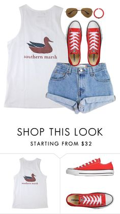 """""""merica' pride"""" by typical-lizzie ❤ liked on Polyvore featuring Levi's, Converse and Ray-Ban"""