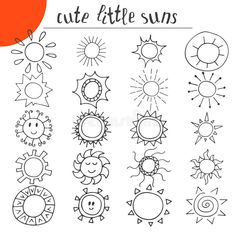 Download Hand Drawn Cute Little Suns Doodle Set Stock Vector