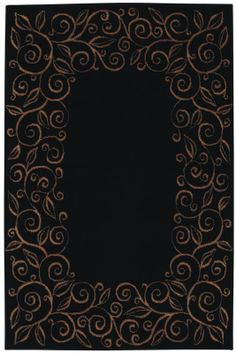 Accents Collection Chateau Ebony Black Contemporary Tan Floral Border Area Rug - Shaw Rugs | Rugs by SelectRugs.com $99.00 #shaw #arearugs