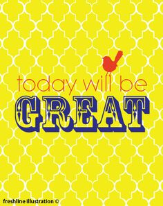 Today will be GREAT with Bird on Damask 8x10 Art by Freshline, $18.95
