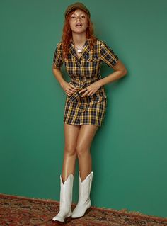Women > Dresses Plaid belted dress Twik Twik exclusive Ultra fun dress in neon colours with a shirt collar and retro belt cotton weave, unlined Adjustable built-in belt The model is wearing size small Patterned Blue Plaid Dress, Belted Dress, Neon Colors, Colours, Nice Dresses, Clothes For Women, Plastic Bottles, Retro, Womens Fashion