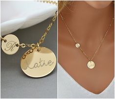 Personalized Initial Necklace, Initial Disc, Name Disc, Engraved Disc Necklace, Gift For Her, Mother Gift Necklace, Gold, Rose Gold, Silver