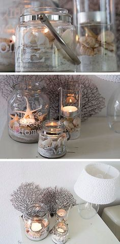 Beach Lanterns Click Pic for 20 DIY Beach Decorating Ideas for the Home DIY Coastal Decorating Ideas for the Home Nautical Decor Ideas Coastal Bedrooms, Coastal Homes, Seashell Crafts, Beach Crafts, Coastal Style, Coastal Decor, Beach House Decor, Diy Home Decor, Summer Decoration