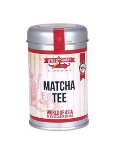 WORLD OF ASIA - GRÜNER TEE MATCHA PULVER  Man erkennt das Grüner Tee Matcha Pulver von SPICEWORLD an seiner intensiven Farbe und seinem harmonischen, leicht süßlichen Geschmack. Im Gegensatz zur üblichen Teezubereitung wird das Matcha Pulver nicht nur im Teewasser ziehen gelassen – man trinkt das Matcha Pulver zur Gänze mit. #worldofasia #asiatisch #matcha #asia #stayspiced #spiceworld Matcha Tee, Coffee Cans, Spices, Container, Canning, How To Prepare Tea, Drinking, Color, Spice