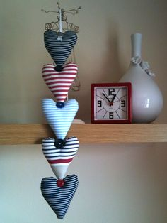 Nautical Fabric Heart Garland - Can be adapted to suit any theme Heart Diy, Heart Crafts, Sewing Crafts, Sewing Projects, Craft Projects, Hobbies And Crafts, Diy And Crafts, Heart Garland, Heart Ornament
