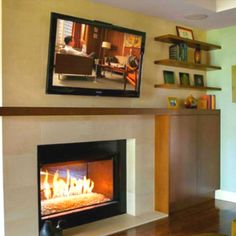 Floating shelves by the fire place