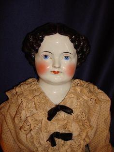 "Large c1870 Antique German China Head Doll 30"" Original Body Clothing Shoes | eBay"