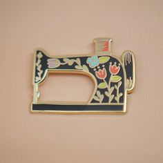 Sewing Machine (Black) Enamel Pin by justinegilbuena on Etsy