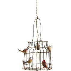 Amara Bird Cage Hanging Table Lamp - Medium ($165) ❤ liked on Polyvore featuring home, lighting, table lamps, metallic, bird lights, light bulb lamp, bird cage table lamp, handmade lamps and bird cage lamp