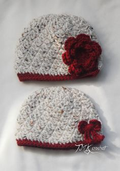Crochet Adorable Flower or Bow Beanie Hat. Size newborn, 0-3 months, and 3-6 months. Baby.