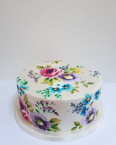 Painted cakes by Nevie-Pie Cakes Vegan Food, Vegan Recipes, Cooking Recipes, English Garden Design, Garden Cakes, Cake Flowers, Painted Cakes, Pie Cake, Elegant Cakes