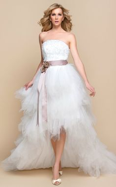"""LTBridal A-line Princess Strapless Asymmetrical Tulle And Lace Wedding Dress - USD $ 68.59 At this price, you, those """"In the waves"""" photos? No problem!"""