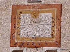 Sundial with zodiac signs seen at the Marienkirche in Maria Saal. This church is considered as one of the oldest one in the Austrian state of Carinthia. the mail coach stone. Carinthia, Sundial, Austria, Zodiac Signs, Old Things, Stone, Clocks, Watches, Wrist Watches