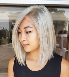 Ash Blonde Side Parted Lob