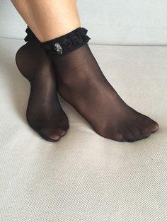 Lace Ankle Socks Black Ankle Socks Women Socks Gift by Muggyshop