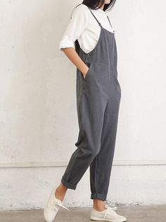 Casual Women Pure Color Side Button Strap Cotton Overalls With Pocket - Banggood Mobile Neat Casual Outfits, Classy Outfits, Salopette Jeans, Overalls Women, Casual Jumpsuit, Mode Hijab, Mode Outfits, Jumpsuits For Women, Daily Fashion
