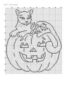 cat on a pumpkin Fall Cross Stitch, Cross Stitch Charts, Cross Stitch Patterns, Embroidery Sampler, Embroidery Stitches, Embroidery Patterns, Plastic Canvas Crafts, Plastic Canvas Patterns, Halloween Canvas