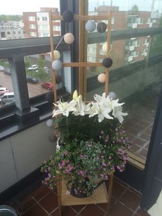 Flowers and lights in the balcony