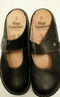 Finn Comfort Womens Stanford Leather Black Napa Clog 42D/11 New No Wear $234.99…