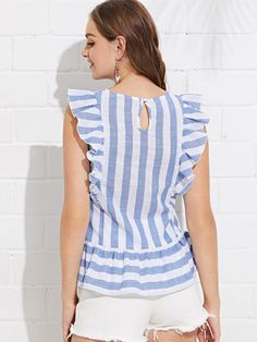 Ruffle Trim Striped Top -SheIn(Sheinside) Cute Blouses, Cotton Blouses, Blouses For Women, Boho Fashion, Fashion Dresses, Girls Short Dresses, Choli Designs, Ethnic Outfits, Retro Dress