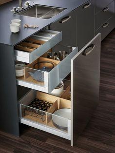 Diy storage ideas for kitchen organizing cabinets Ideas Modern Kitchen Cabinets, Kitchen Cabinet Design, Modern Kitchen Design, Kitchen Pantry, Interior Design Kitchen, Kitchen Designs, Kitchen Walls, Kitchen Soffit, Kitchen Counters