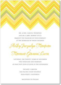 Wedding Paper Divas - invite options....Signature White Textured Wedding Invitations Chevron Charm - Front : Citrus