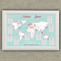 Travel Theme Wedding Seating Chart - World Map - Destinations - Printable file - wedding table plan by redlinecs on Etsy Wedding Guest Table, Wedding Table Seating, Wedding Reception, Map Wedding, Wedding Stationery, Wedding Invitations, Travel Themes, Seating Charts, Table Cards