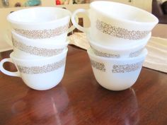 Set of 6 Corelle Woodland Brown Coffee Cups by NonisVintageDelights, $14.00