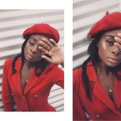 How to style berets Red Berets, Red Blazer, Leather Jacket, Daily Outfit, Stylish, Jackets, Outfits, Inspiration, Black