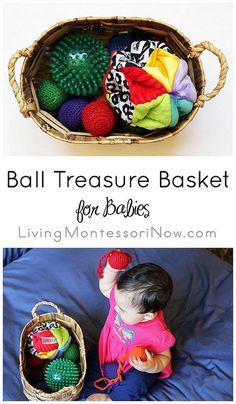 Montessori-Inspired Ball Treasure Basket for Babies (plus resources for creating treasure baskets and many types of themed treasure baskets) Montessori Baby, Montessori Activities, Infant Activities, Activities For Kids, Montessori Playroom, Montessori Education, Baby Education, Toddler Play, Baby Play