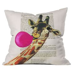 DENY Designs Giraffe With Bubblegum Throw Pillow Lots of other great pillows by this brand!