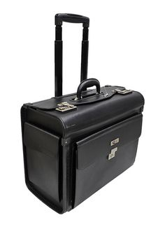 ce646667c84d FAUX LEATHER LAPTOP TROLLEY WHEELED BRIEFCASE HAND LUGGAGE PILOT CASE BAG