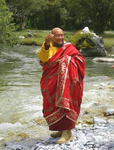 Lama Gangchen Rinpoche at the river