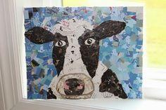 Collage con papel de regalo reciclado en Recicla Inventa