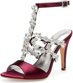 Women High Heels Satin Rhinestone Wedding Bridal Sandals Open Toe Ankle Buckle Strap Prom Evening Formal Party Dress Shoes 430-36.As an Amazon Associate I earn from qualifying purchases. Rhinestone Sandals, Rhinestone Wedding, Crystal Wedding, Crystal Rhinestone, Wedding Sandals For Bride, Bridal Sandals, Prom Shoes, Women's Shoes, Dress Shoes