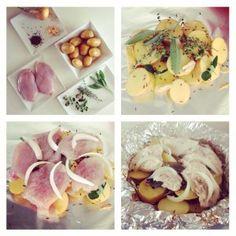 Zapečená kuřecí prsa s bramborem - Fitness Recepty Garlic, Meat, Vegetables, Healthy, Recipes, Food, Recipies, Essen, Vegetable Recipes